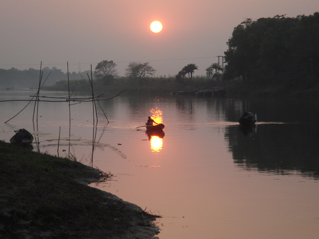 Sunset on the Jalangi River - a tributary of the Hoogly that runs behind Balakhana