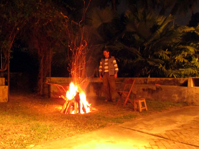 A bonfire in December at The Thatch