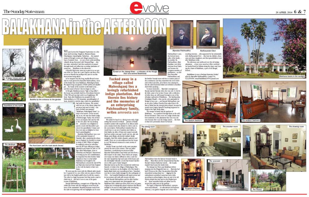 The Statesman, Sunday 20th April 2014. Kolkata edition