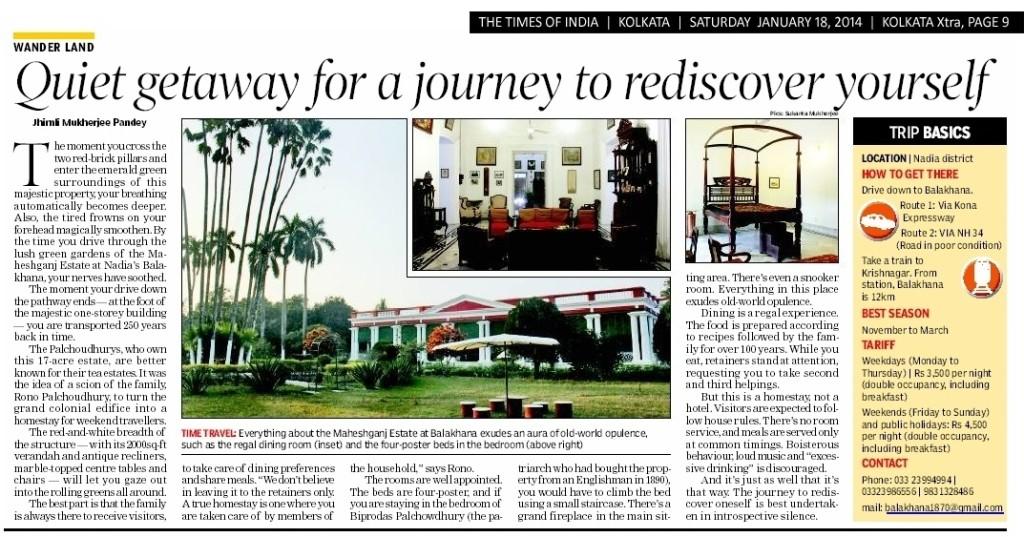Times Of India, Saturday 18th January 2014. Kolkata edition